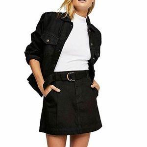 Free People M Black Mini Skirt 6AQ13